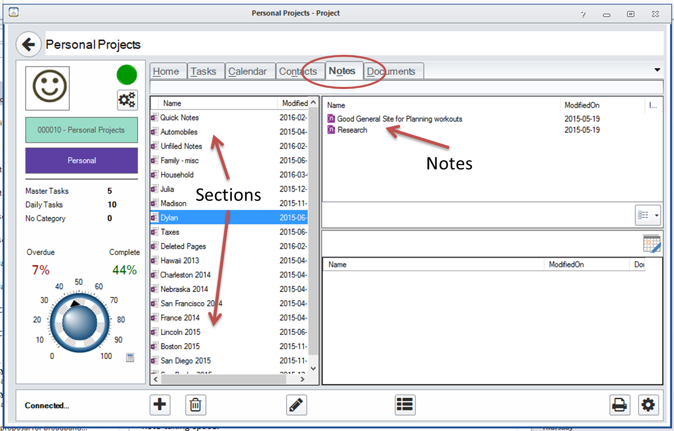 FocusMe Project Window - OneNote Notes